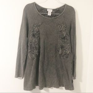 Soft Surroundings Camden Embroidered Thermal Shirt